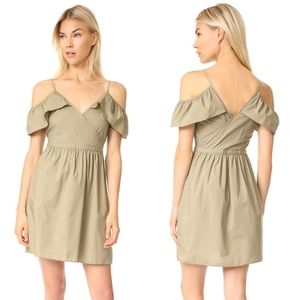 Madewell Khaki Cold Shoulder Sleeveless Dress